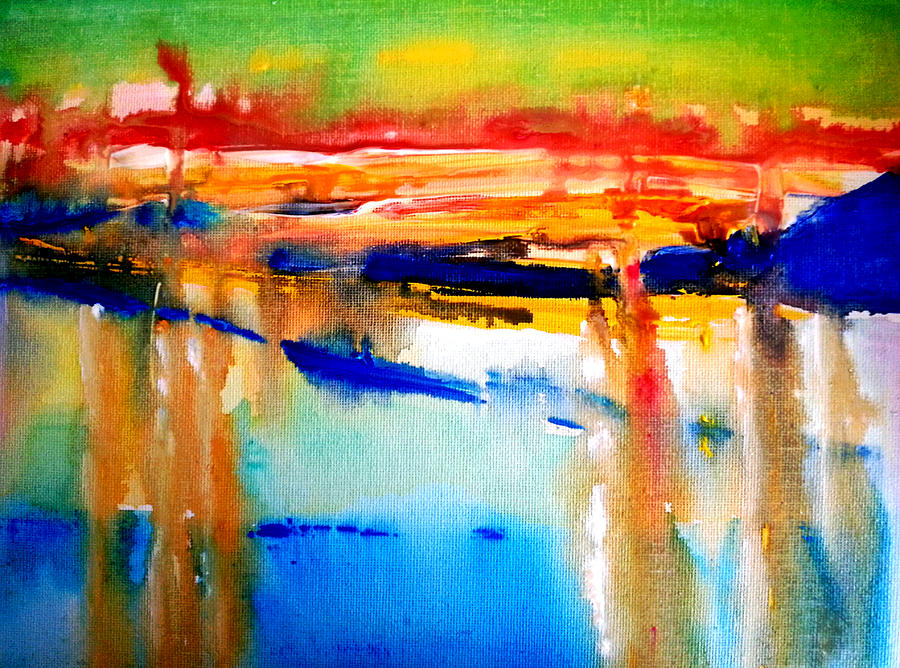Abstract Painting - Northern Sunset by Nikki Dalton