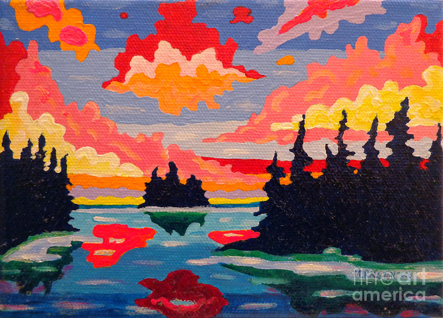 Northern Sunset Surreal Painting