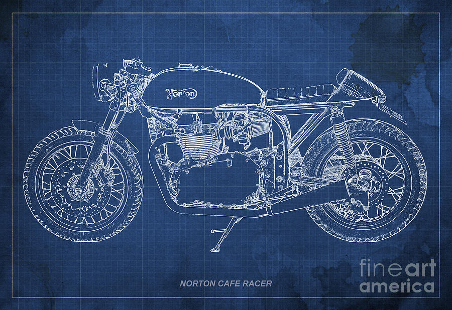 Norton Cafe Racer Drawing - Norton Cafe Racer Blueprint by Drawspots Illustrations