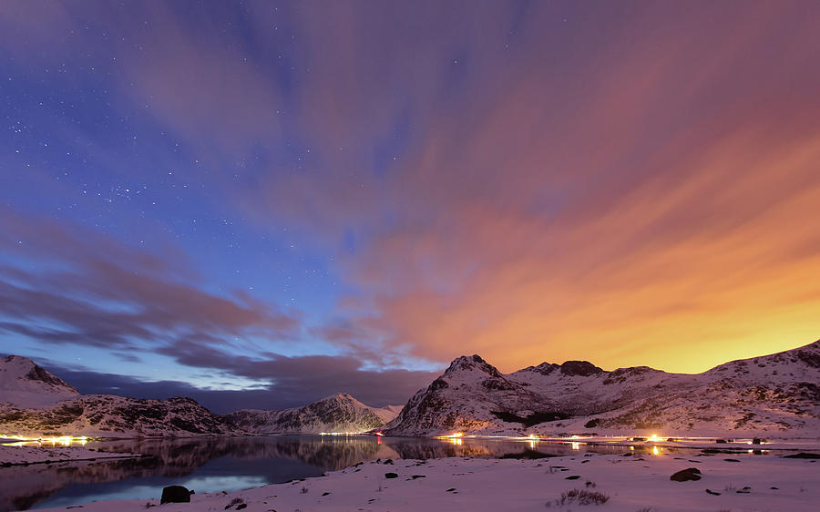 Norway Lofoten At Night With Burning Sky Photograph by Spreephoto.de