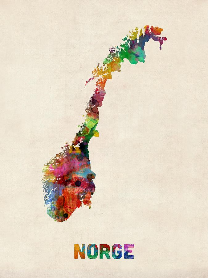 Urban Digital Art - Norway Watercolor Map by Michael Tompsett
