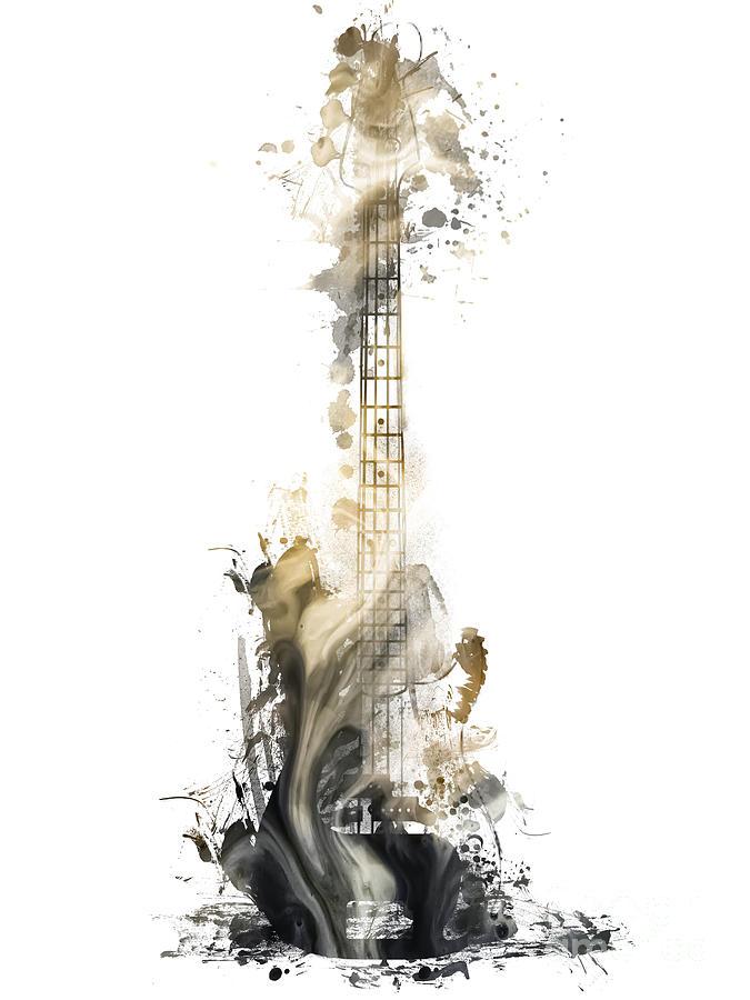 Guitar Digital Art - Nostalgy Guitar watercolor instrument by Justyna Jaszke JBJart
