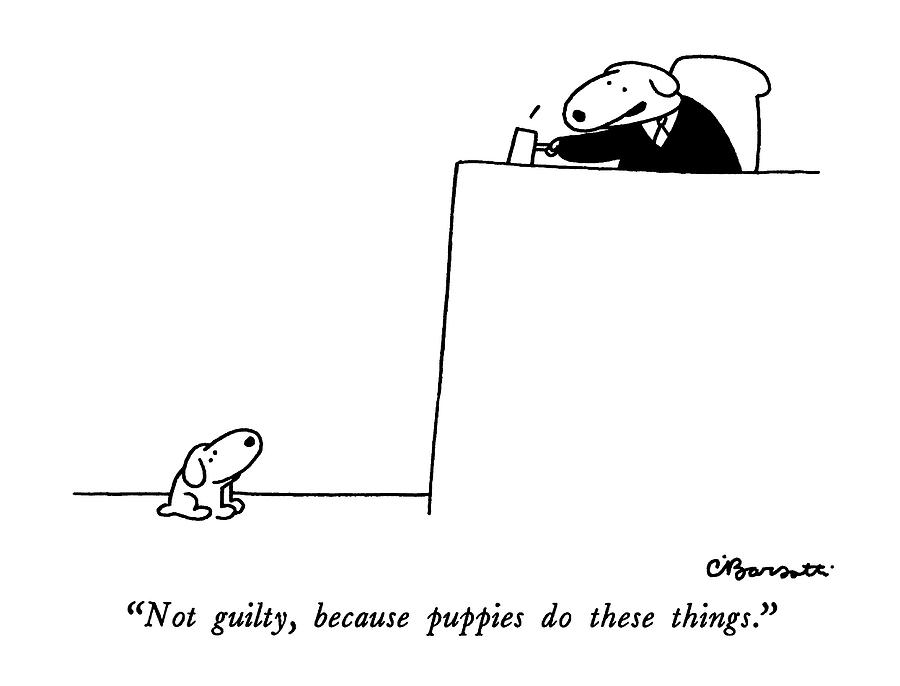 Puppies Drawing - Not Guilty, Because Puppies Do These Things by Charles Barsotti
