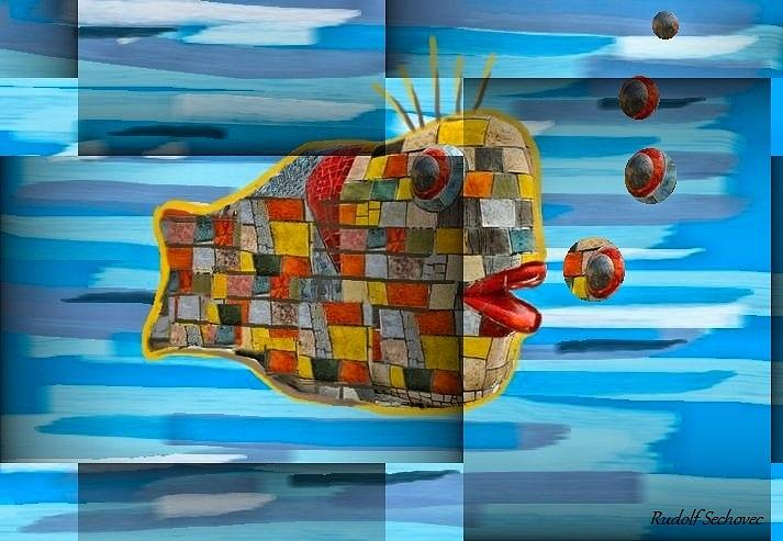 Fish Painting - Not Made In China by Rudolf Sechovec