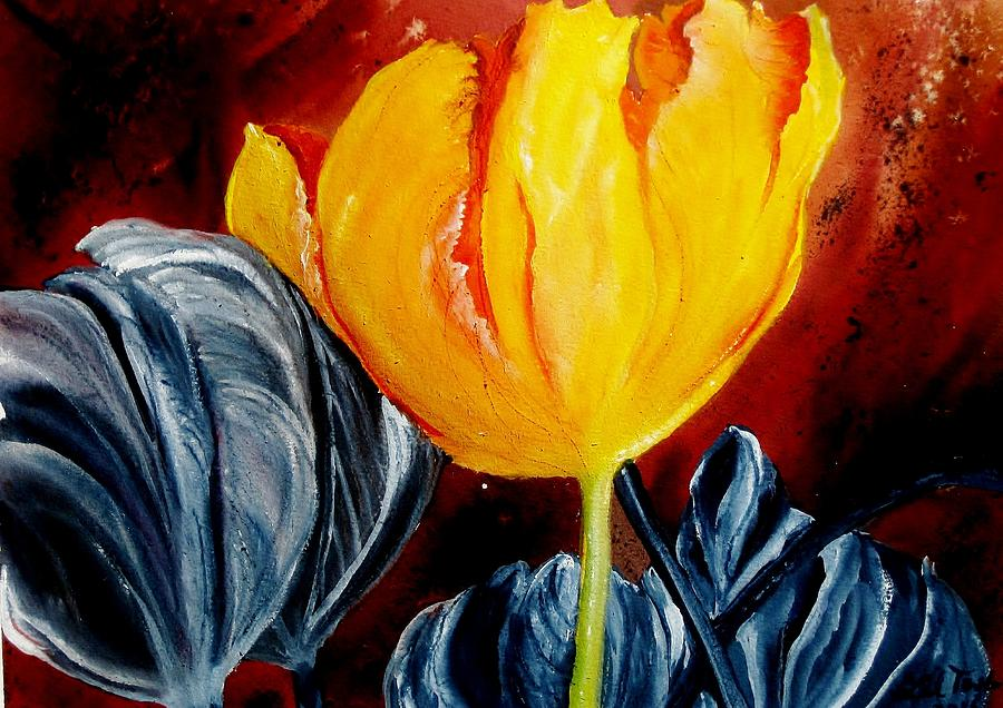 Tulip Painting - Not Quite by Lil Taylor
