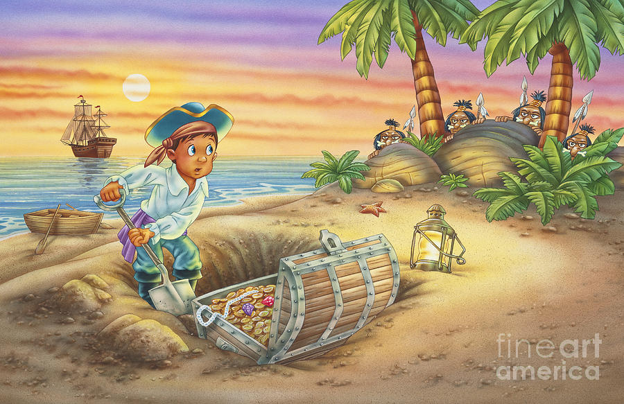 Pirate Ship Painting - Not-So-Hidden Treasure by Phil Wilson