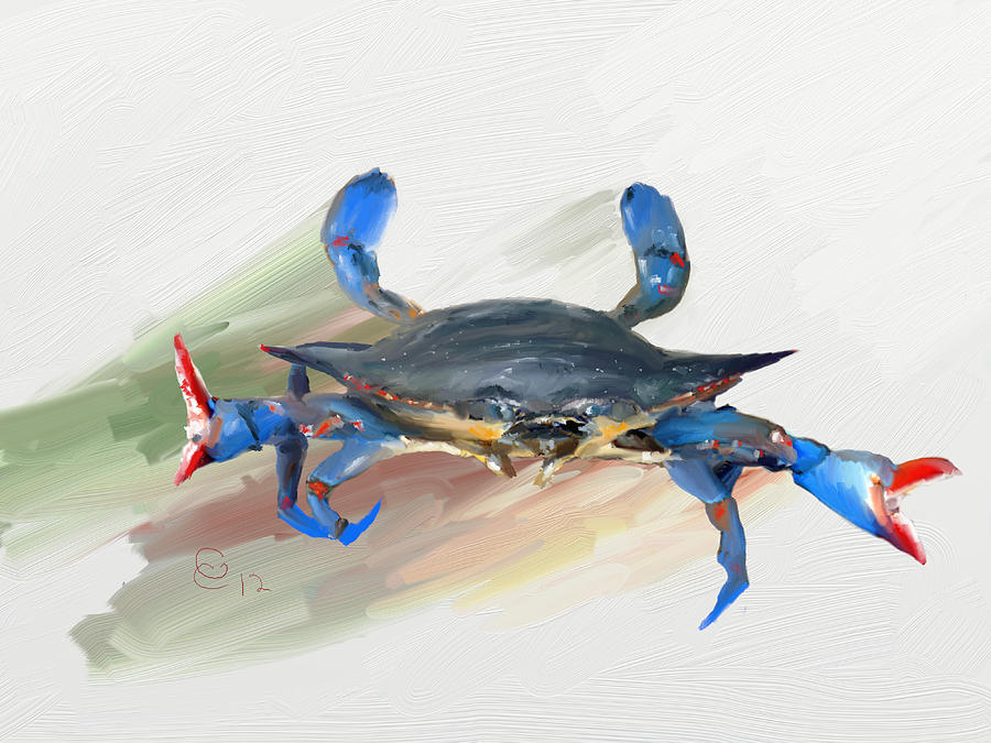 Blue Crab Painting - Not Without A Fight by GCannon