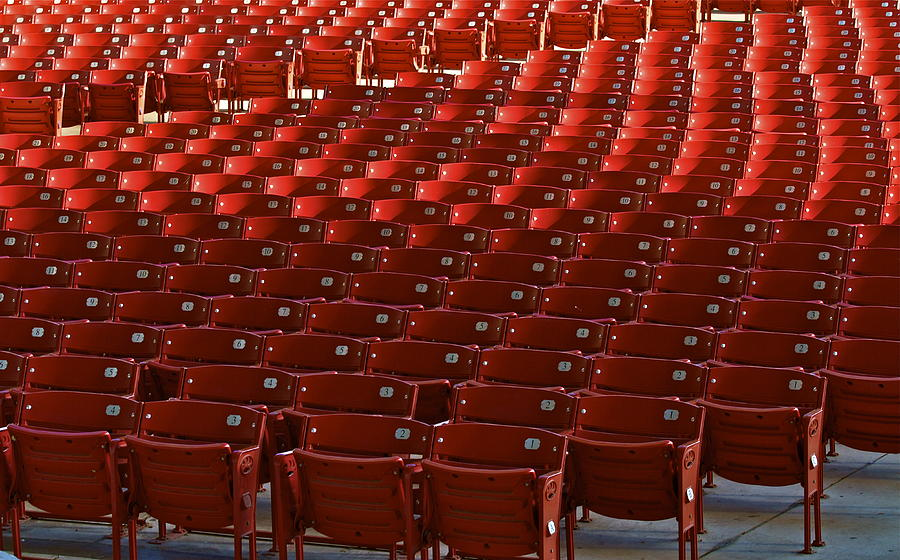 Seats Photograph - Red Rows by John Babis