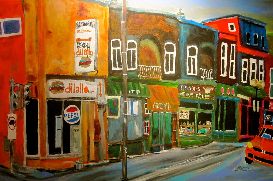 Montreal Painting - Notre Dame Antique Row by Michael Litvack