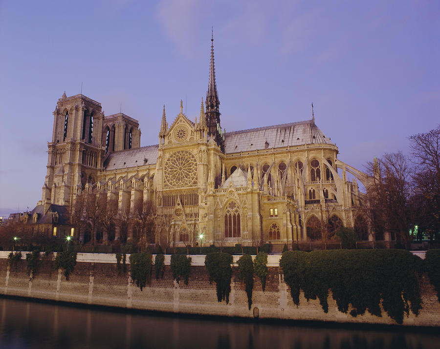 Notre Dame Cathedral By The River Seine, Paris, France, Europe Photograph by Peter Scholey / robertharding