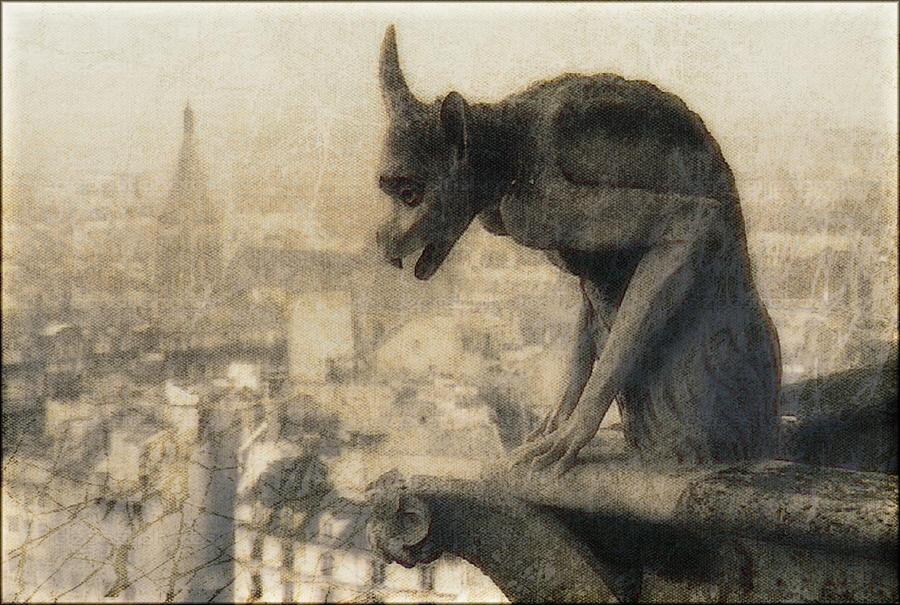 Douglas Painting - Notre Dame Cathedral Gargoyle by Douglas MooreZart