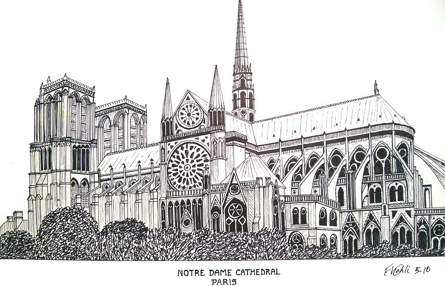 Pen And Ink Drawing Drawing - Notre Dame Cathedral - Paris by Frederic Kohli