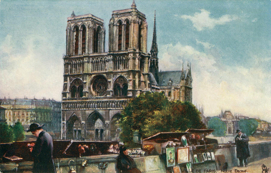 Paris Drawing - Notre Dame Cathedral, Paris - Viewed by Mary Evans Picture Library