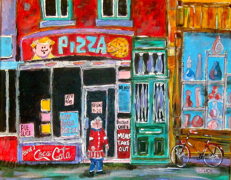 Montreal Painting - Notre Dame Pizza by Michael Litvack