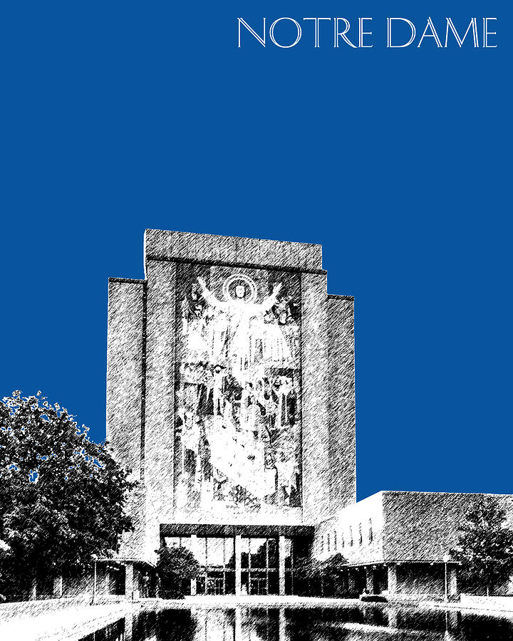 Architecture Digital Art - Notre Dame University Skyline Hesburgh Library - Royal Blue by DB Artist