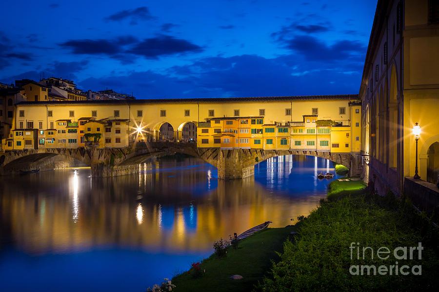 Arno Photograph - Notte A Ponte Vecchio by Inge Johnsson