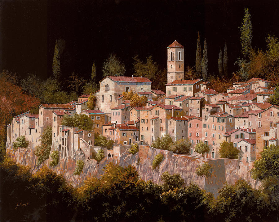 Tuscany Landscape Painting - Notte Senza Luna by Guido Borelli