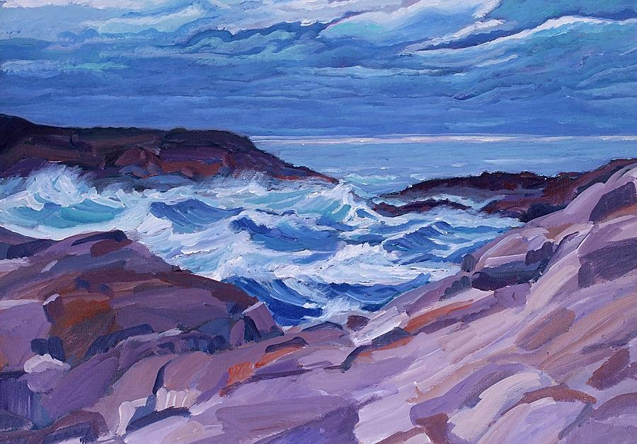Acrylic Mixed Media - Nova Scotia Coast by Janet Ashworth