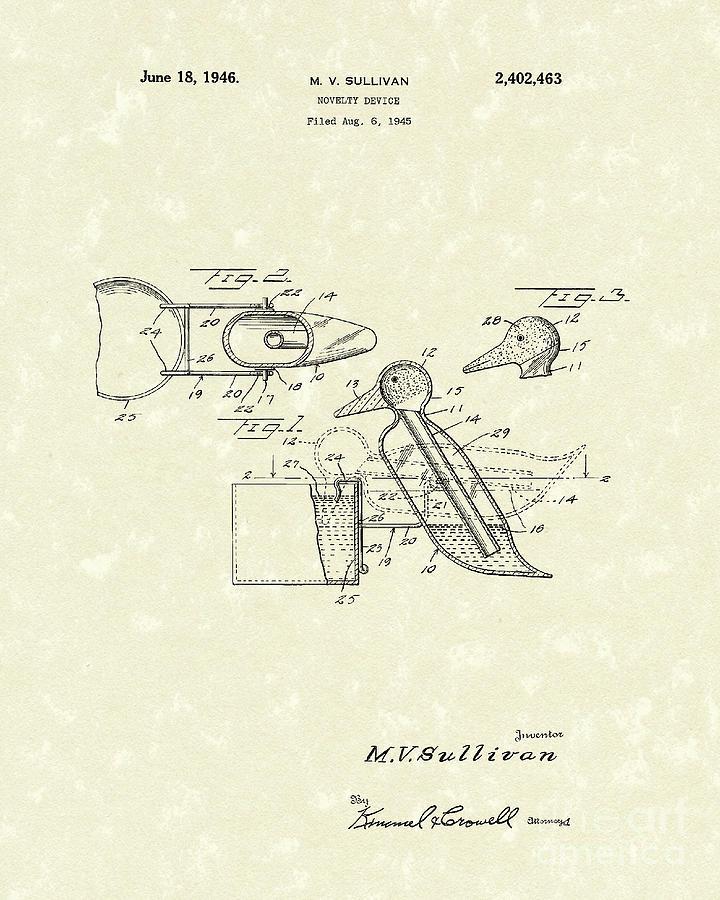 Sullivan Drawing - Novelty Duck 1946 Patent Art by Prior Art Design