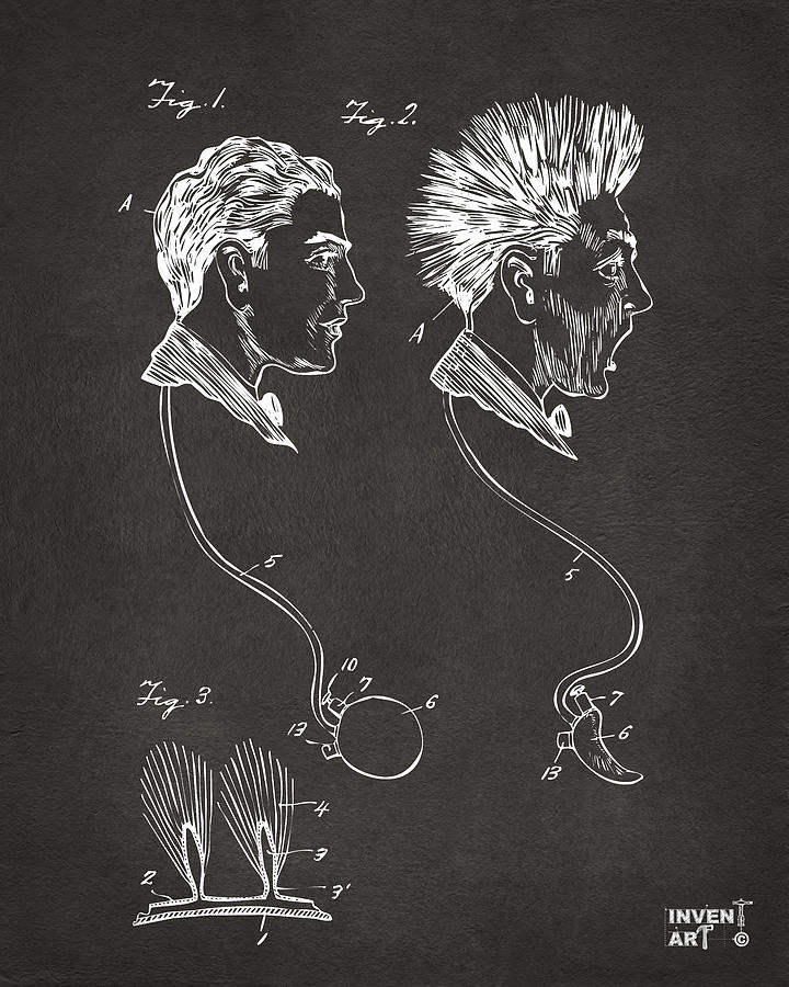 Wig Digital Art - Novelty Wig Patent Artwork Gray by Nikki Marie Smith
