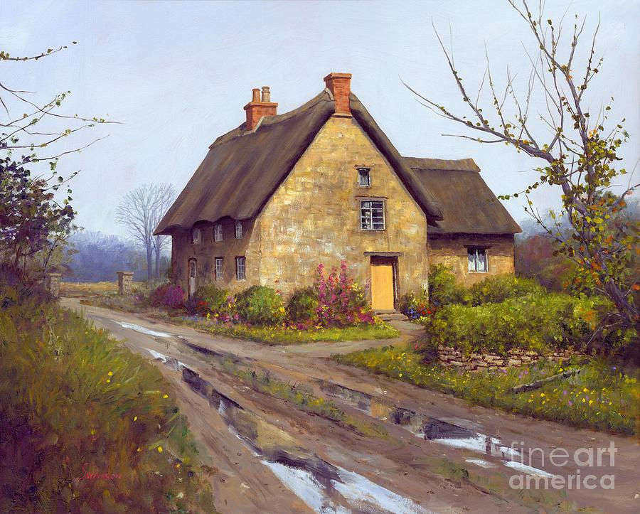 English Cottage Painting - November Cottage  by Michael Swanson