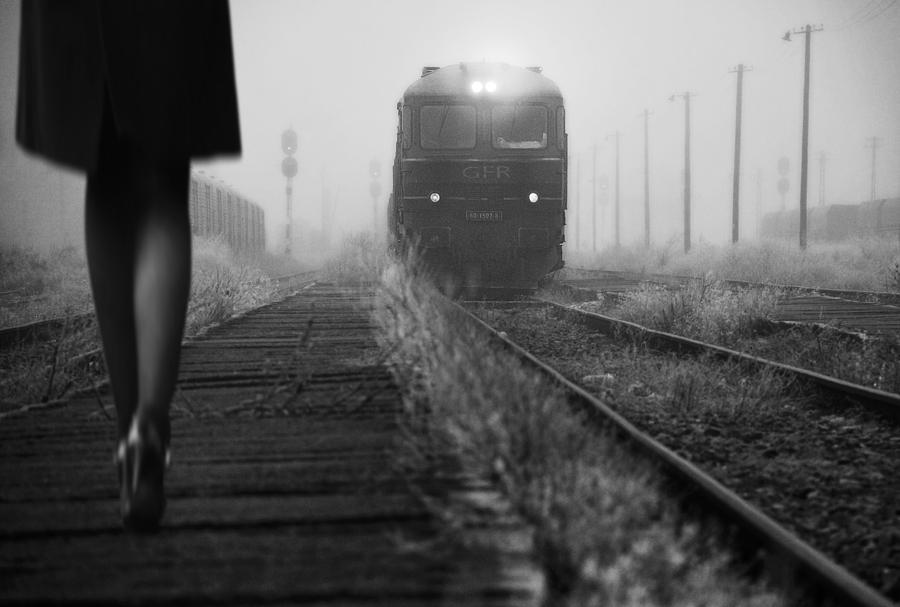 Train Photograph - November Passengers by Nicoleta Gabor