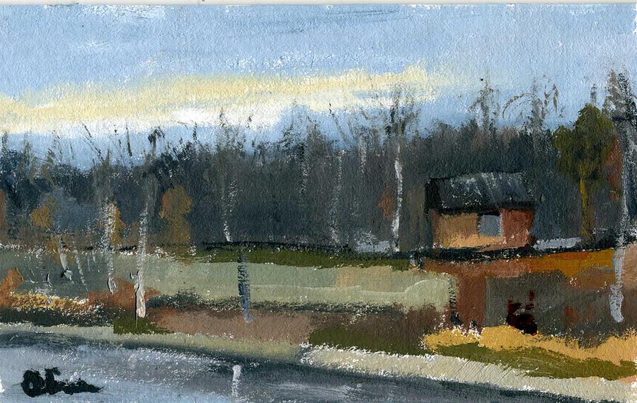 Outdoors Painting - November Plein Air by Lelia Sorokina