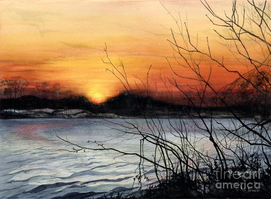 Barbara Jewell Painting - November Sunset by Barbara Jewell