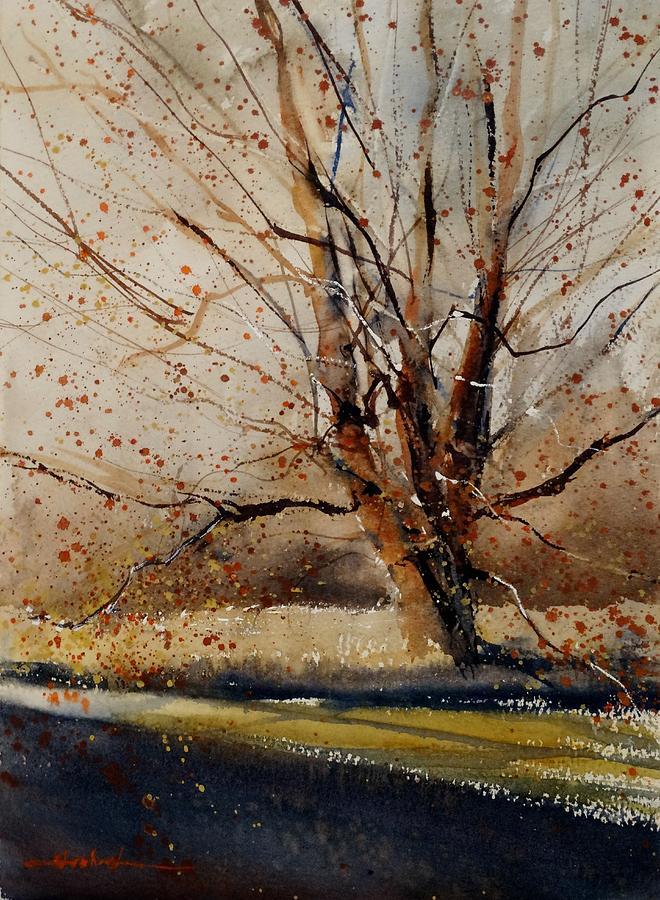 November Tree Painting By Sandra Strohschein