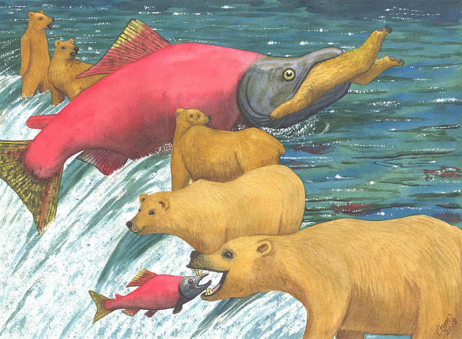 Salmon Painting - Now Thats A Keeper by Catherine G McElroy
