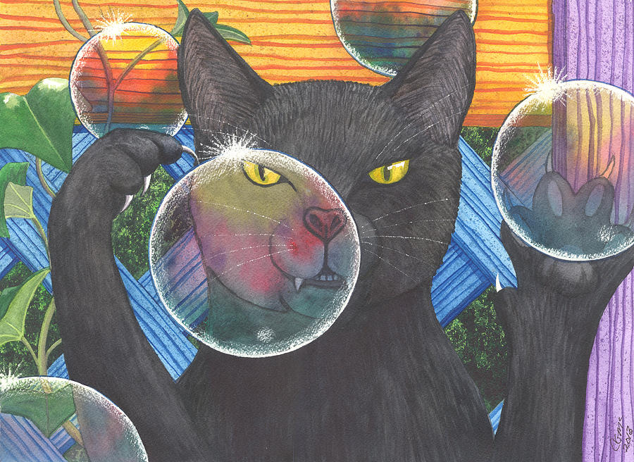 Cat Painting - Now You See It by Catherine G McElroy