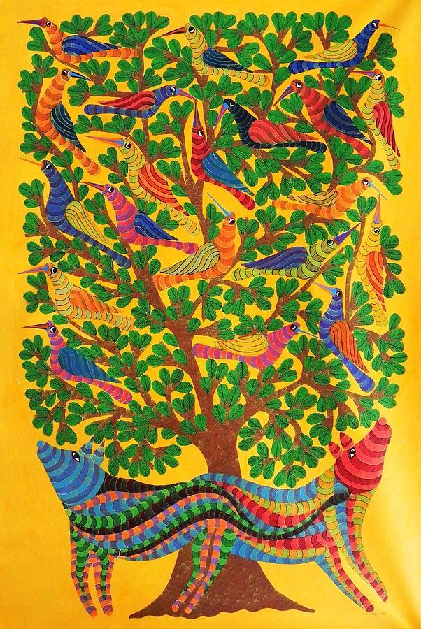Narmada Prasad Tekam Painting - Npt 52 by Narmada Prasad Tekam