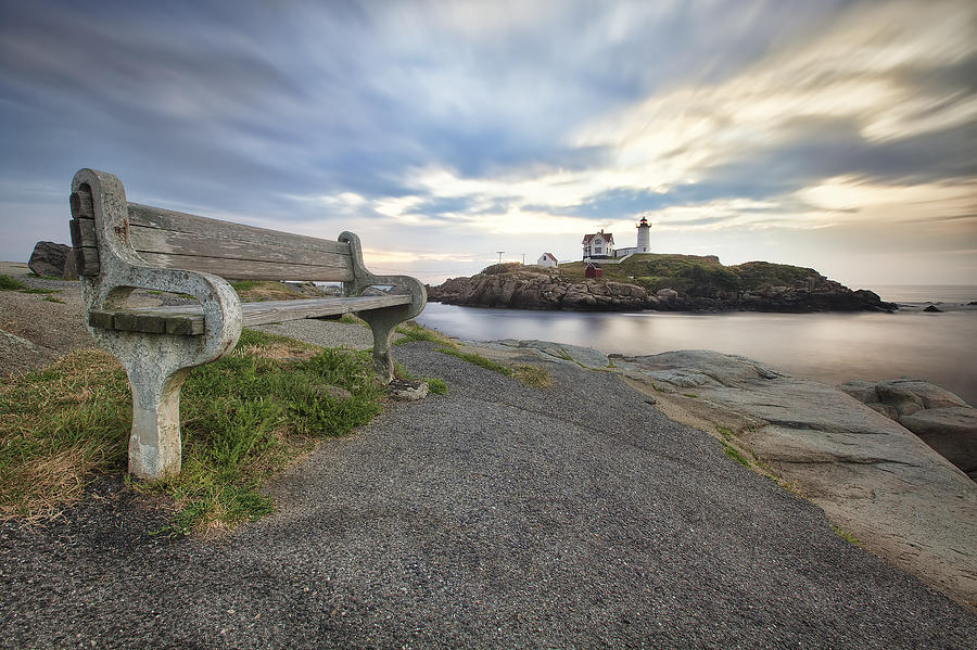 Photograph - Nubble Bench by Eric Gendron