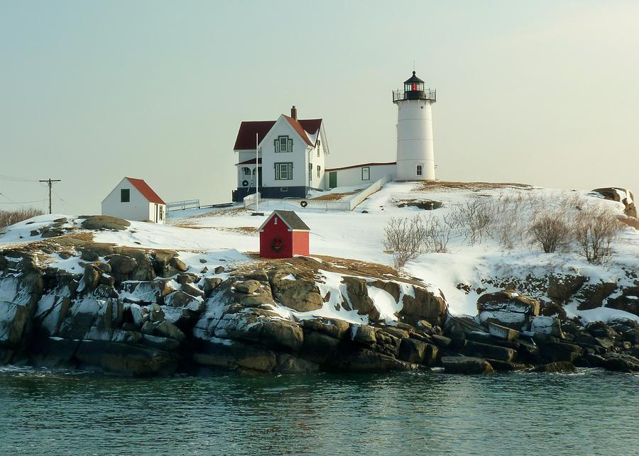 Lighthouse Photograph - Nubble In Winter by Elaine Franklin