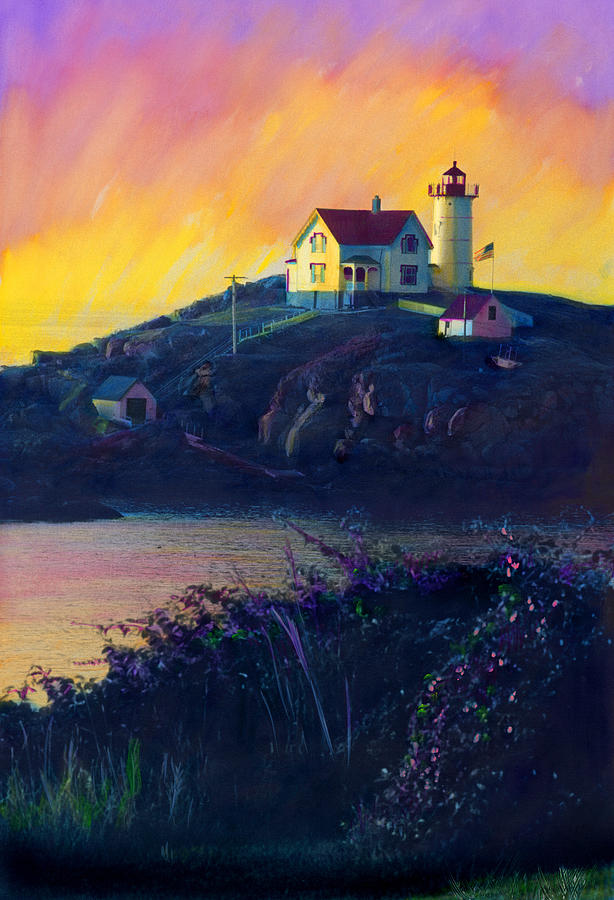 Nubble Lighthouse Painting - Nubble Lighthouse by Cindy McIntyre