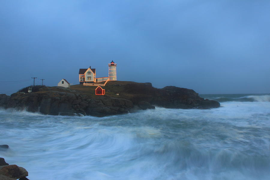 Maine Lighthouse Photograph - Nubble Lighthouse High Surf And Holiday Lights by John Burk