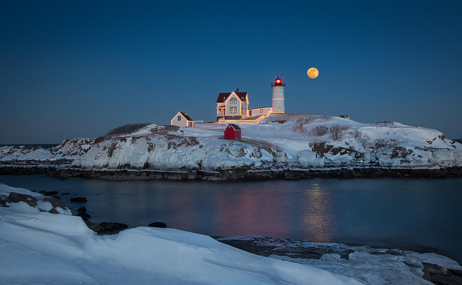 Nubble Lighthouse In Winter Photograph by Betty Wiley