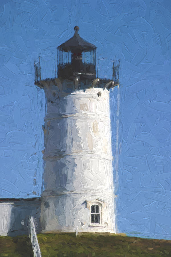Light Photograph - Nubble Lighthouse Maine Painterly Effect by Carol Leigh