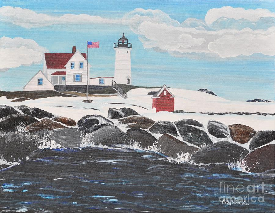 Maine Painting - Nubble Lighthouse by Sally Rice