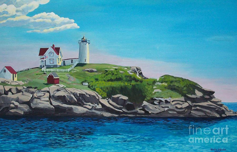 Nubble Lighthouse Painting - Nubble Lighthouse Sunrise by Stella Sherman