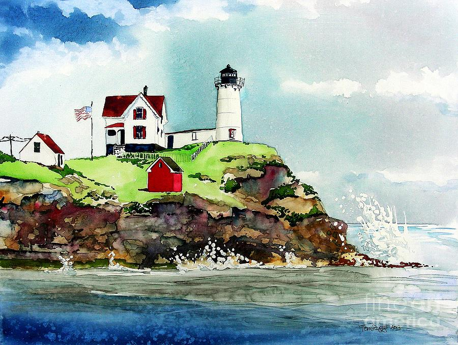 Maine Painting - Nubble Lighthouse by Tom Riggs
