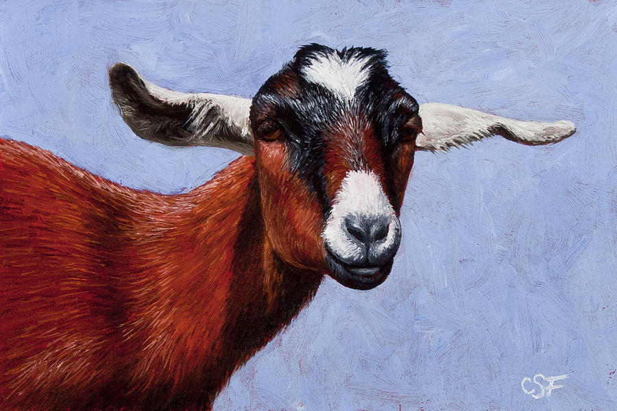 Goat Painting - Nubian Red by Crista Forest