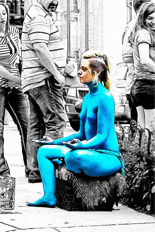America Drawing - Nude A La Smurf by John Haldane
