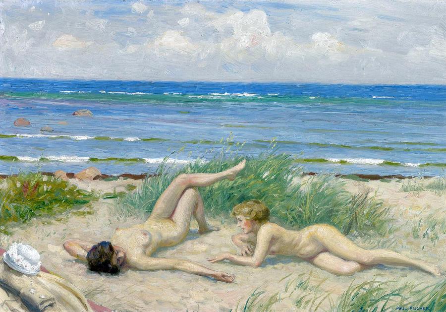 Paul Gustav Fischer Photograph - Nude Bathers On The Beach by Paul Gustav Fischer