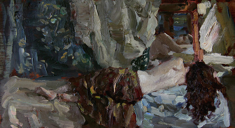 Girl Painting - Nude Before The Mirror by Korobkin Anatoly