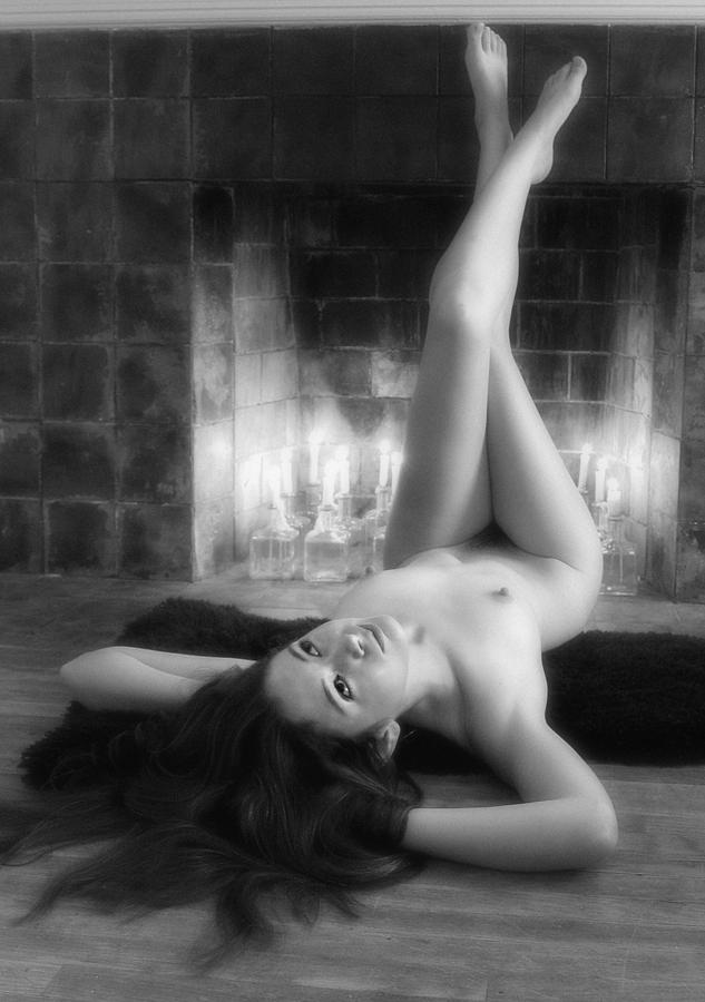 Nude Girl By The Fireplace Photograph by Bijan Studio