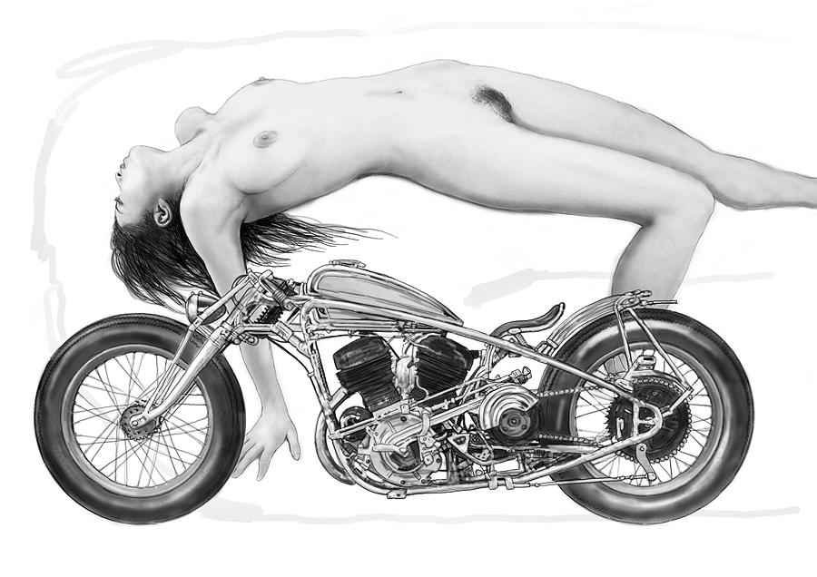 Portraits Painting - Nude Girl With Motercycle  - 4 by Kim Wang