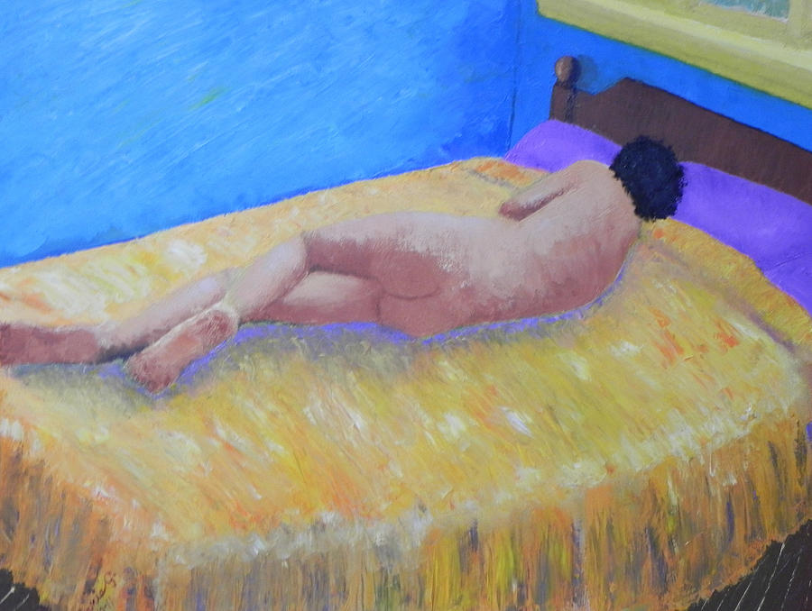 Impressionist Nude Painting - Nude In Blue Room by Ernie Goldberg