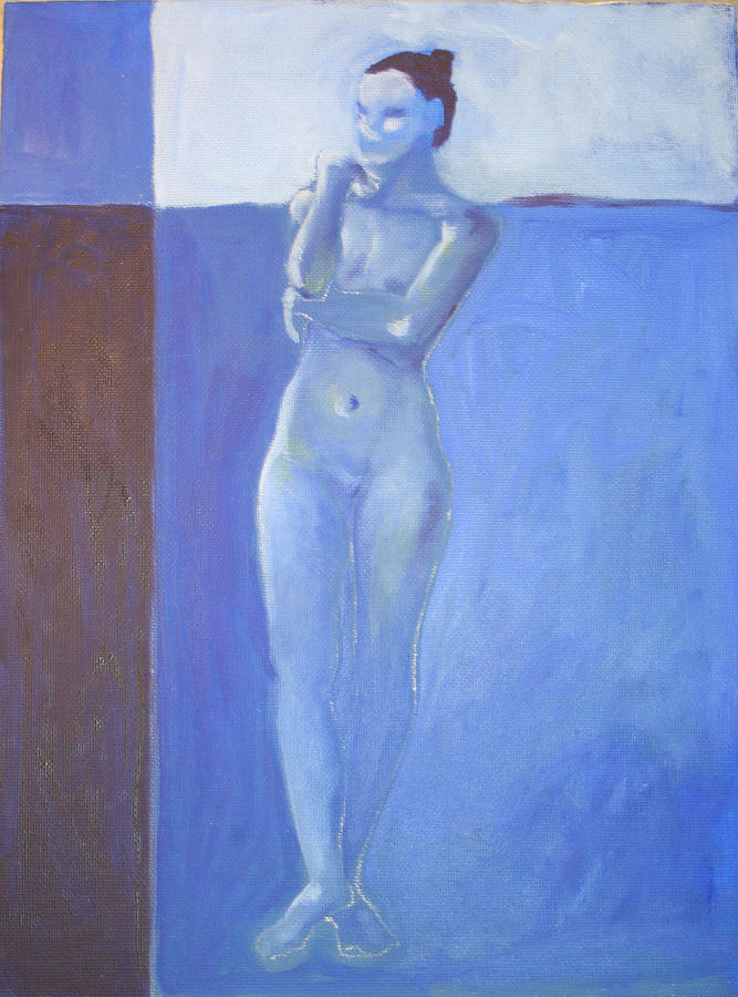Figure Painting - Nude In Blue by Victoria Sheridan