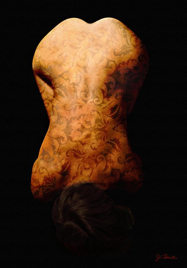 Nude Photograph - Nude In Brocade by Joe Bonita
